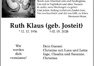 † Ruth Klaus