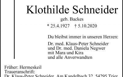 † Klothilde Schneider