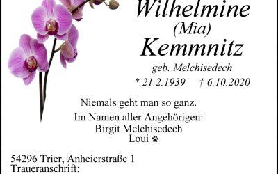 † Wilhelmine (Mia) Kemmnitz