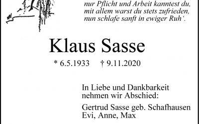 † Klaus Sasse