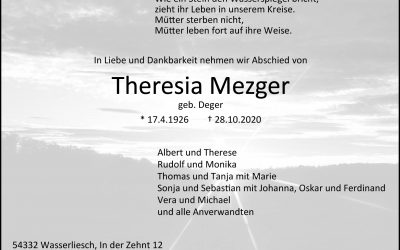 † Theresia Mezger