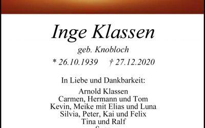 † Inge Klassen